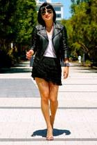 leather Club Monaco jacket - Guess shoes - fringe shorts Club Monaco shorts