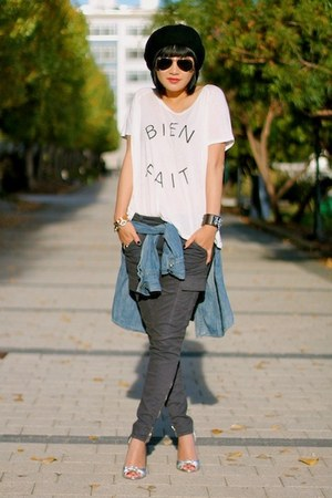 chambray madewell shirt - ray-ban sunglasses - gray cargo J Brand pants