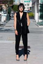 black Club Monaco vest - dior sunglasses - grey Giuseppe Zanotti heels