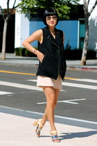 pink Club Monaco skirt - silver sam edelman shoes - black Club Monaco vest