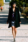 Sparkle-bcbg-dress-black-wool-jcrew-coat-aviator-ray-ban-sunglasses