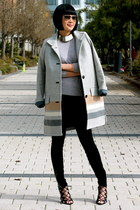 gray Club Monaco coat - black J Brand jeans - gray Club Monaco sweater