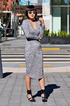 black Tibi shoes - grey wilfred dress - silver dior sunglasses
