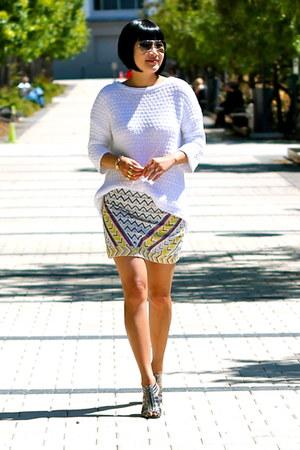 24435aa894 beaded Zara skirt - white Zara sweater - aviator ray-ban sunglasses