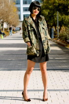 camo Club Monaco jacket - black Aqua dress - aviator ray-ban sunglasses