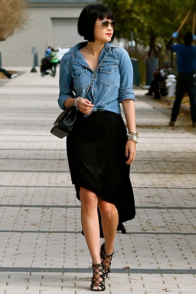 black Chanel bag - black silk BCBG dress - denim madewell shirt