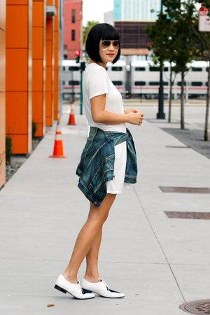 white asos shoes - white Reformation dress - denim madewell jacket