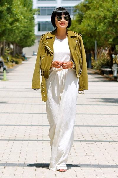 white maxi Addison dress - Guess shoes - green suede Club Monaco jacket