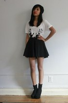 flared romwe skirt - Urban Outfitters top - suede vjstyle heels