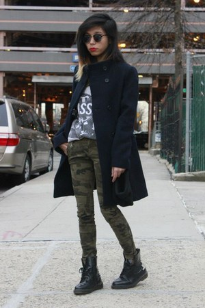 Urban Outfitters boots - camouflage Zara jeans - wool Uniqlo jacket