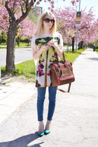 dark brown Aldo bag - ivory Zara dress - navy Zara jeans - teal F&F heels