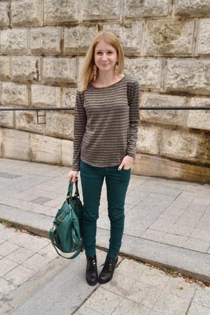 green New Yorker bag - green New Yorker jeans - dark gray Zara jumper