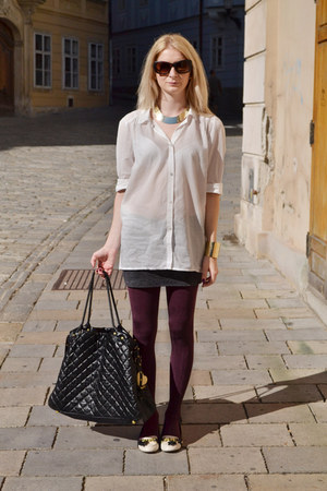 ivory H&M shirt - brick red lindex tights - black Topshop bag
