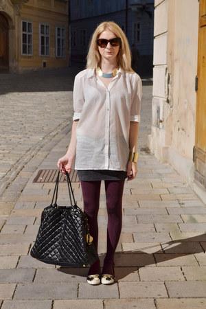 ivory H&M shirt - brick red lindex tights - black Topshop bag