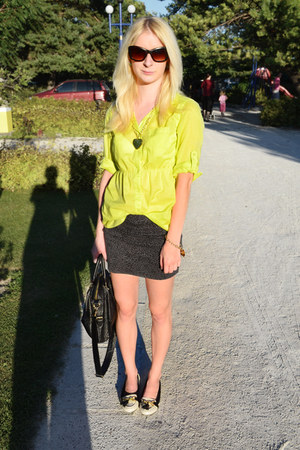 yellow Gate shirt - dark green Terranova skirt - ivory Topshop flats