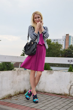 hot pink lindex dress - navy H&M blazer