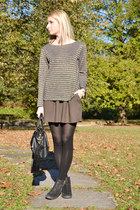 black Topshop boots - black lindex bag - dark gray camiueu skirt