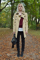 camel New Yorker coat - black Topshop boots - ivory H&M shirt