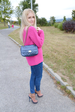 hot pink Zara sweater - navy asos boots - navy Zara jeans