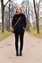black Topshop boots - black Zara coat - burnt orange Zara bag - black H&M pants