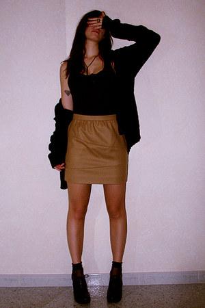 camel Missoni skirt - black vintage sweater - black Mencucci shoes