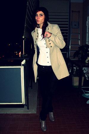 white H&M shirt - camel Zara coat - light brown Zara shoes