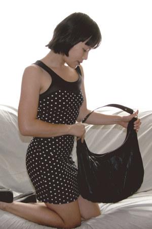 polka dots Forever 21 dress - faux leather bag - ballet flats
