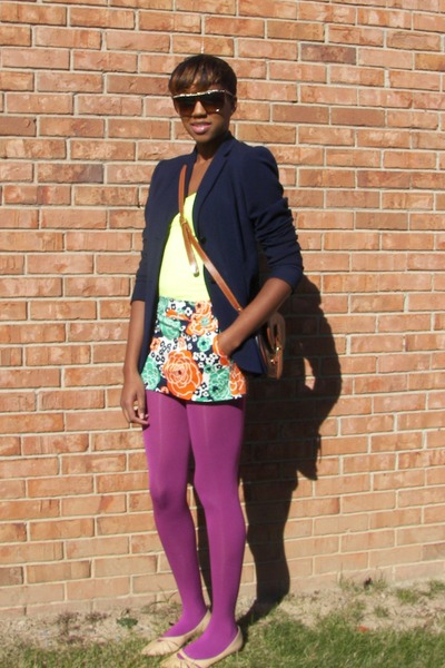 navy calvin klein blazer - carrot orange H&M skirt - tawny Dooney and Bourke pur