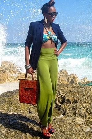 navy wool calvin klein blazer - chartreuse harem pants pants - hot pink t-strap