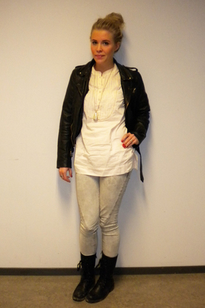 Saints & Mortals jacket - Skopunkten boots - Bershka jeans - veromoda blouse