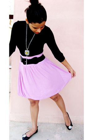 black Mango top - pink united colors of benetton skirt - black carlton shoes - a