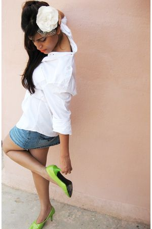 white Bershka shirt - Mango skirt - random online shoes - Forever New accessorie