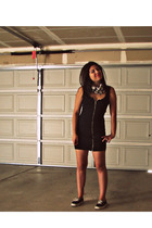 black KickAss scarf - black vans shoes Vans shoes - black zipper dress H&M dress