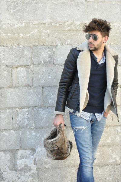 Zara coat - antony morato jeans - H&M hat - RAYBAN glasses