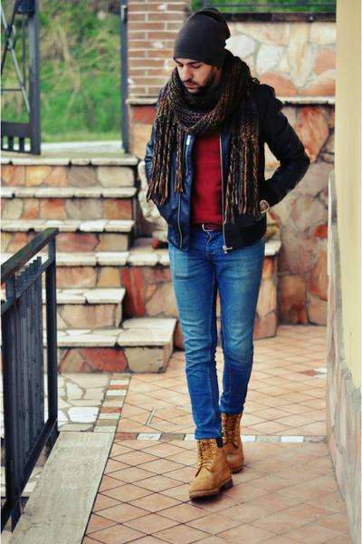 Timberland shoes - Bershka jeans - Bershka hat - Zara jacket - Bershka scarf