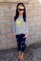 striped Forever 21 shirt - camel suede H&M boots