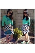 silk polka dot J Crew Factory skirt - mint Old Navy sweater - J Crew shirt