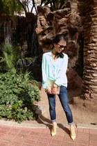 mint Forever 21 shirt - skinny American Eagle jeans - envelope clutch Target bag