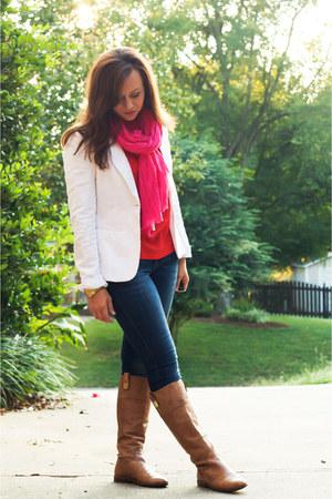 banana republic boots - Levis jeans - H&M blazer - JCrew scarf