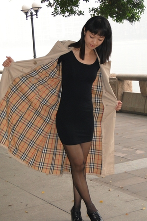 beige Burberry coat - black American Apparel dress - black unknown brand shoes