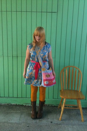 opaque mustard Forever 21 tights - steel toe Carolina boots - Lulus dress