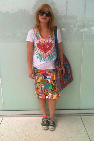 handmade thrifted skirt - tie dye no brand bag - Target socks