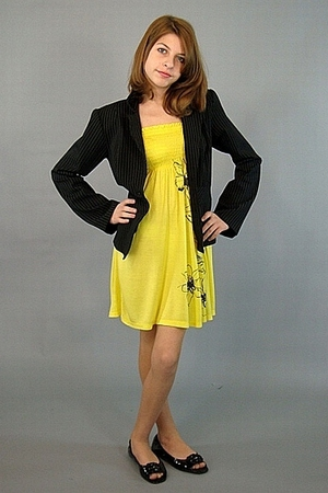 black A-List blazer - yellow papaya dress - black Jessica Simpson shoes