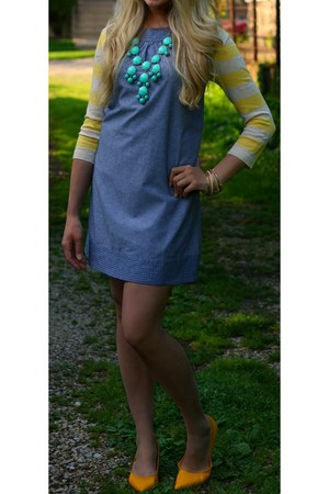 yellow stripes Forever 21 cardigan - chambray unknown dress - J Crew necklace