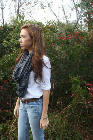 charcoal gray American Apparel scarf - sky blue H&M jeans