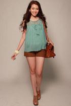 brown pinkreebonz bag - dark brown pinkreebonz shorts - chartreuse pinkreebonz t