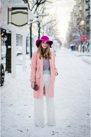 light pink Sheinsidecom coat - bubble gum Primark sweater