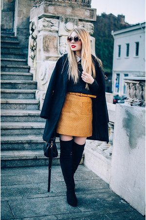bronze Sheinside skirt - black Yoins boots - black Sheinside coat