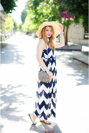white Tino González sandals - navy zaful dress - cream Primark hat
