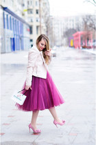 magenta Roxana Sanda skirt - light pink faux leather Zara jacket